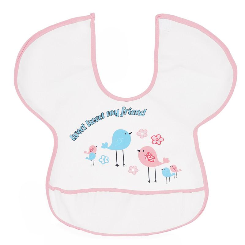 Babețică impermeabilă cu margini roz și imagine de pui  296477