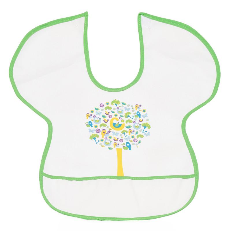 Babețică impermeabilă cu margine verde și imagine cu copac colorat  296479