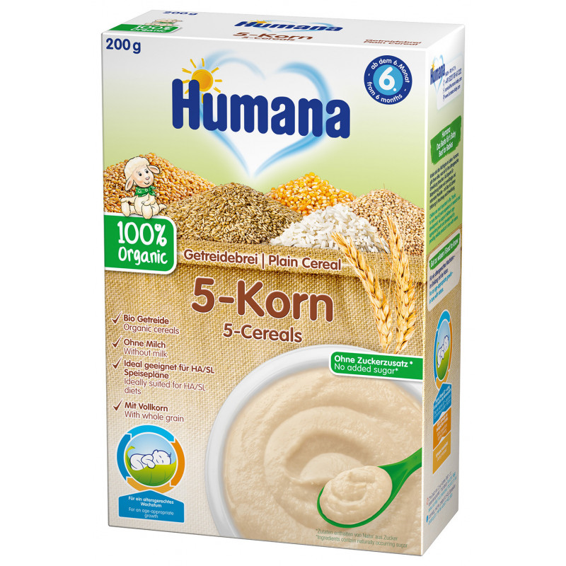 Terci organic fără lapte cu 5 boabe, peste 6 luni, cutie 200 g.  2968