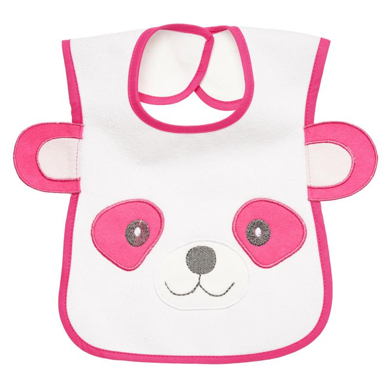 Bavetă impermeabilă, urs cu urechi imprimate în culoare roz, pentru o fată  297008