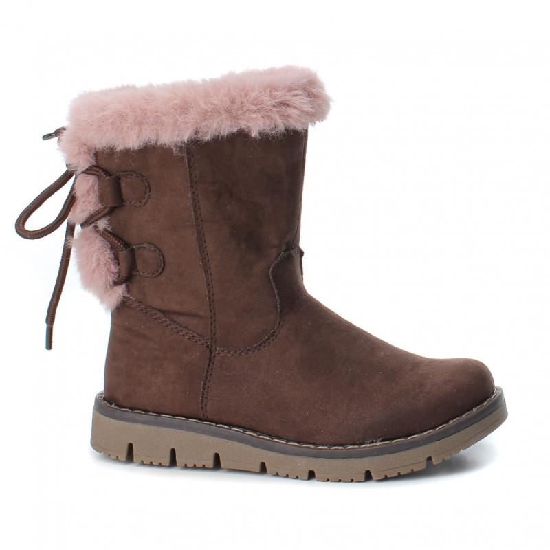 Cizme din imitație de piele cu blăniță roz pentru fete, maro  3096