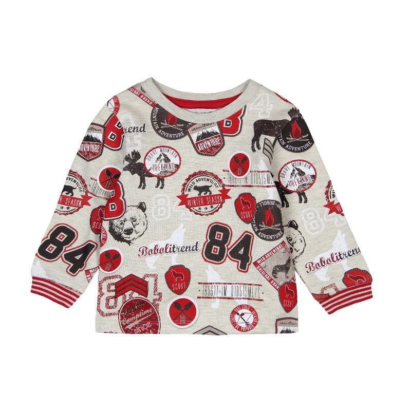 Bluză cu mânecă lungă, cu aplicații colorate pentru băieți  312