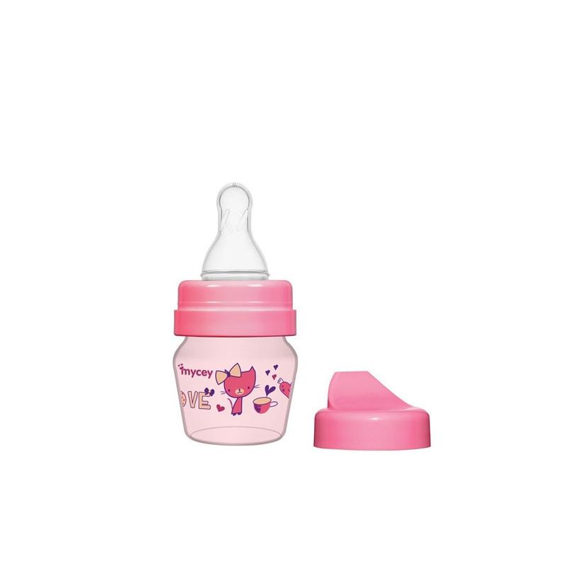 Biberon din polipropilenă, pentru nou-născuți, cu tetină, 0+ luni, 30 ml, culoare: roz  3121