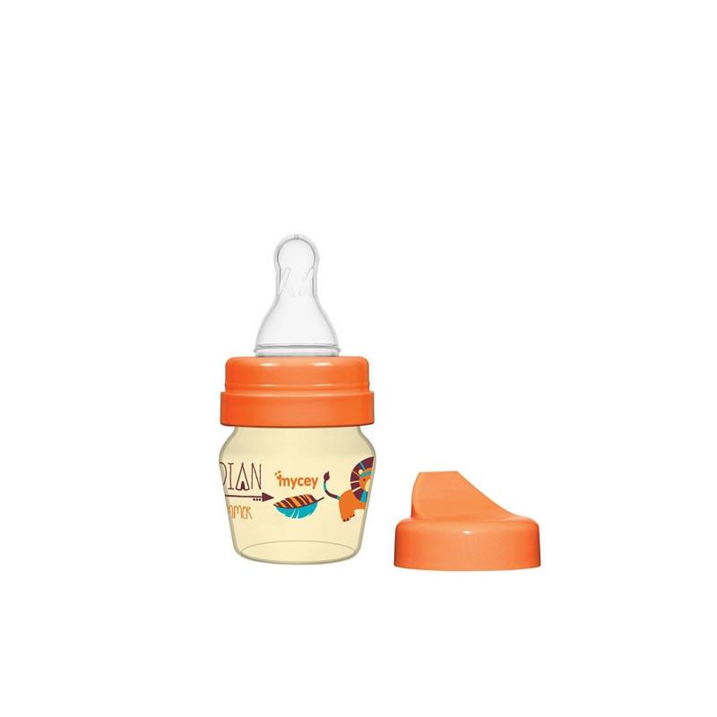 Biberon din polipropilenă, pentru nou-născuți, cu tetină, 0+ luni, 30 ml, culoare: portocaliu  3123