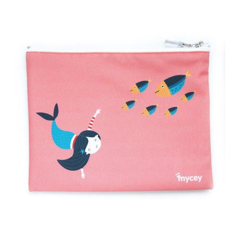 Geantă alimente, sirenă, 20 x 20 cm, culoare: roz  3125