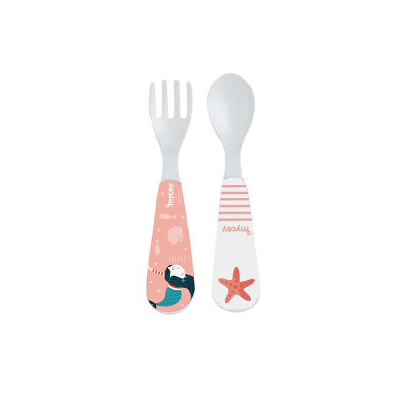 Set lingură și furculiță, culoare roz  3143
