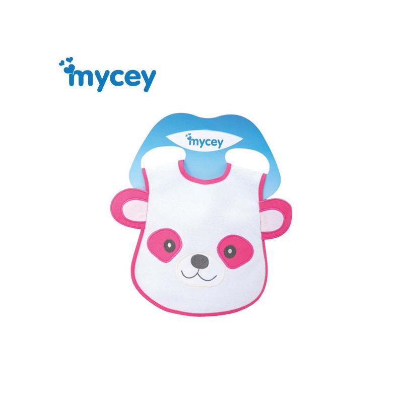Bavetă impermeabilă, urs cu urechi imprimate în culoare roz, pentru o fată  3177