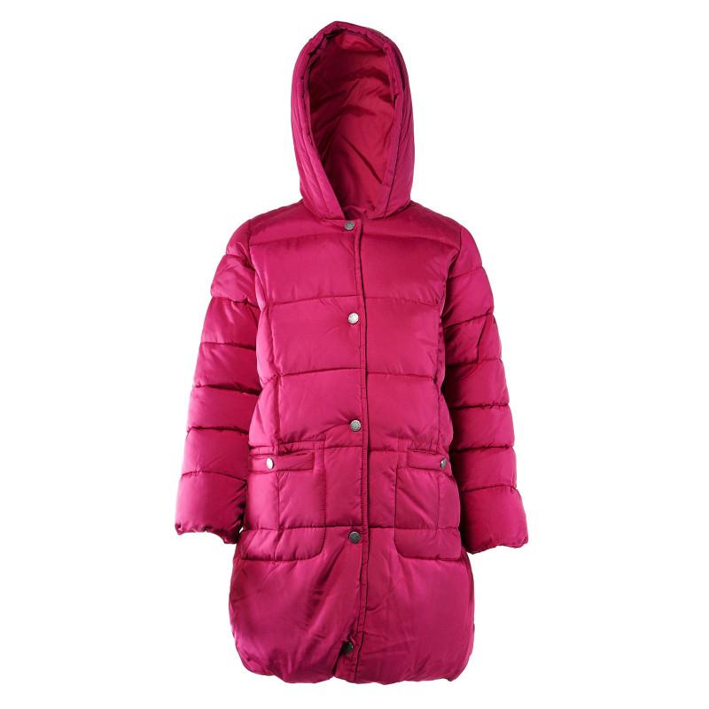 Geacă lungă cu glugă pentru fete de culoare roz  31855