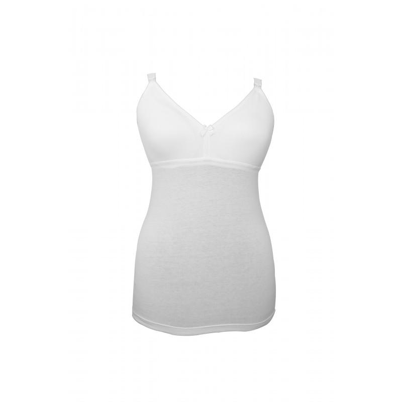 Tricou din bumbac alb, pentru mamele care alăptează, măsura 95  3216