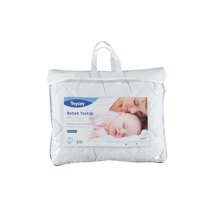 Pernă pentru bebeluși, 35 x 45 cm, cu fibre de silicon antibacteriene și antialergice și bumbac hipoalergenic  3264