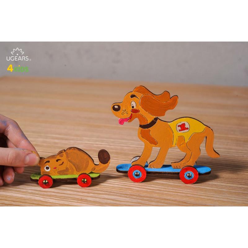 Puzzle mecanic 3D Pisoi și Cățeluș pentru copii  3344