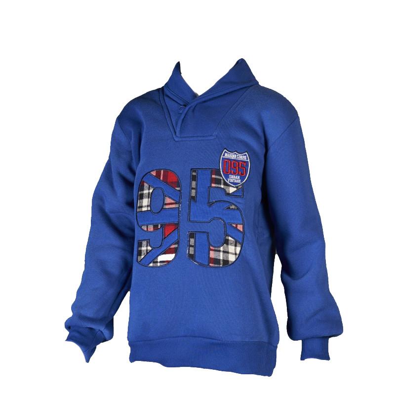 Bluză băieți cu guler-eșarfă, albastru  34185