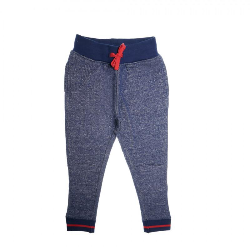 Pantaloni de bumbac, albaștri cu accente roșii  35813