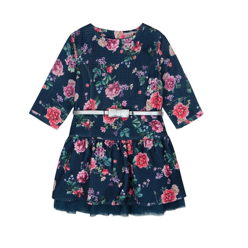 Rochie cu mâneci lungi, cu imprimeu floral și curea  3650