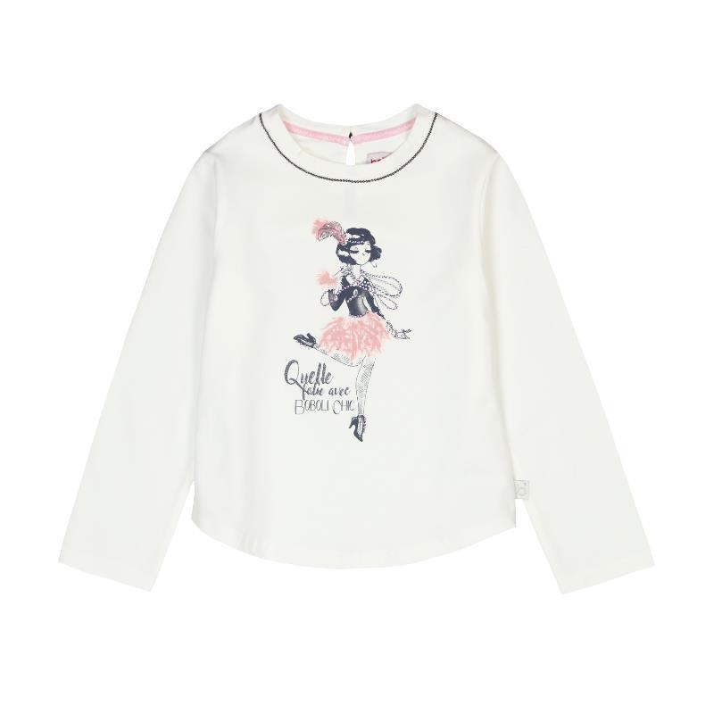 Bluză de bumbac cu aspect îngrijită pentru fete  3674