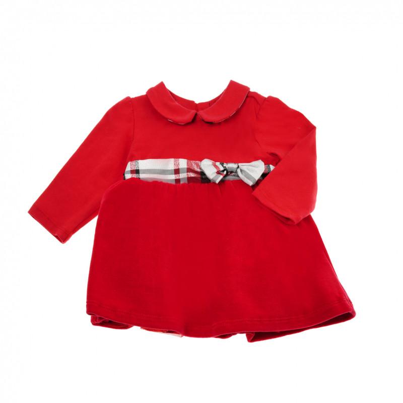 Rochie din bumbac cu mânecă lungă, cu panglică, pentru fete  37470