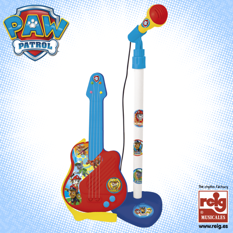 Set de chitare și microfon pentru copii, albastru-roșu  3796