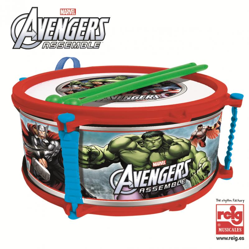Tambur pentru copii cu bețe, Avengers, 23 cm  3814