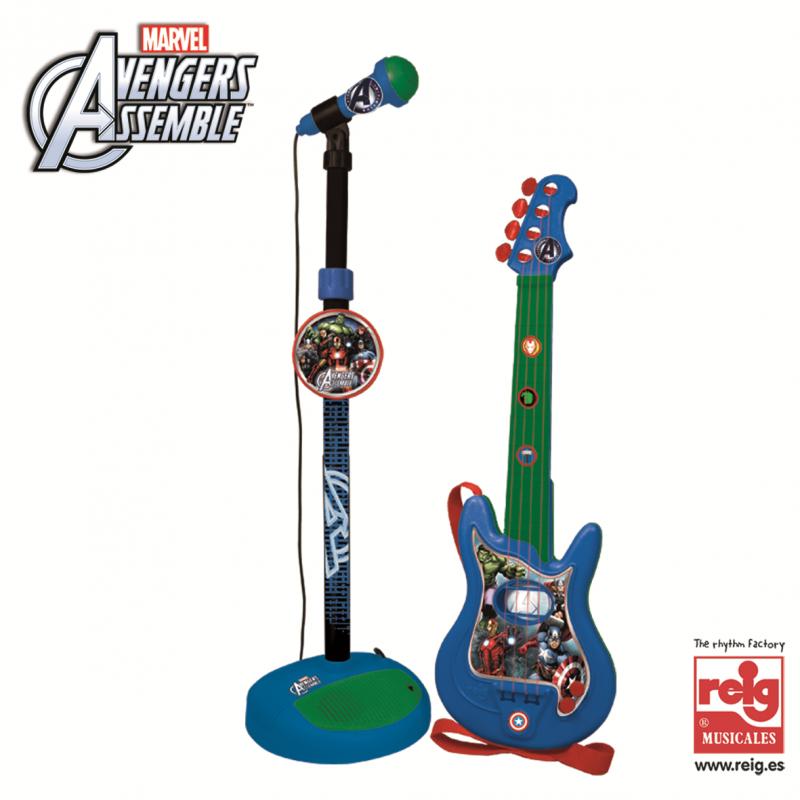Chitară și microfon pentru copii, Set Avengers  3816