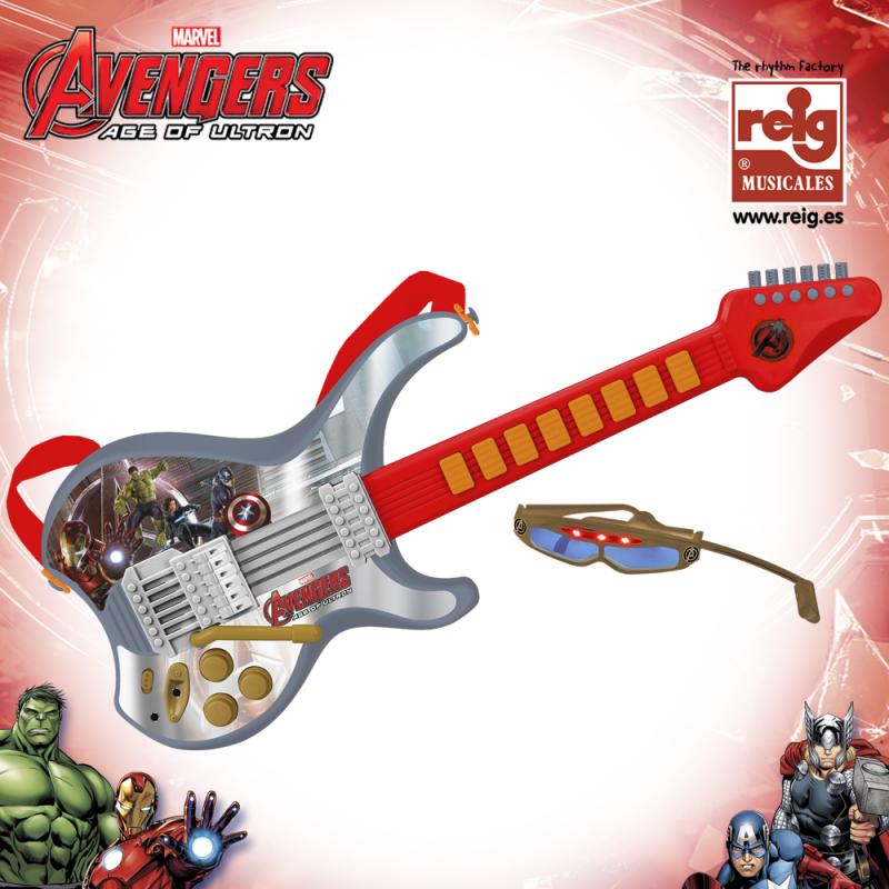 Chitară electronică de sticlă pentru copii cu microfon Avengers  3819