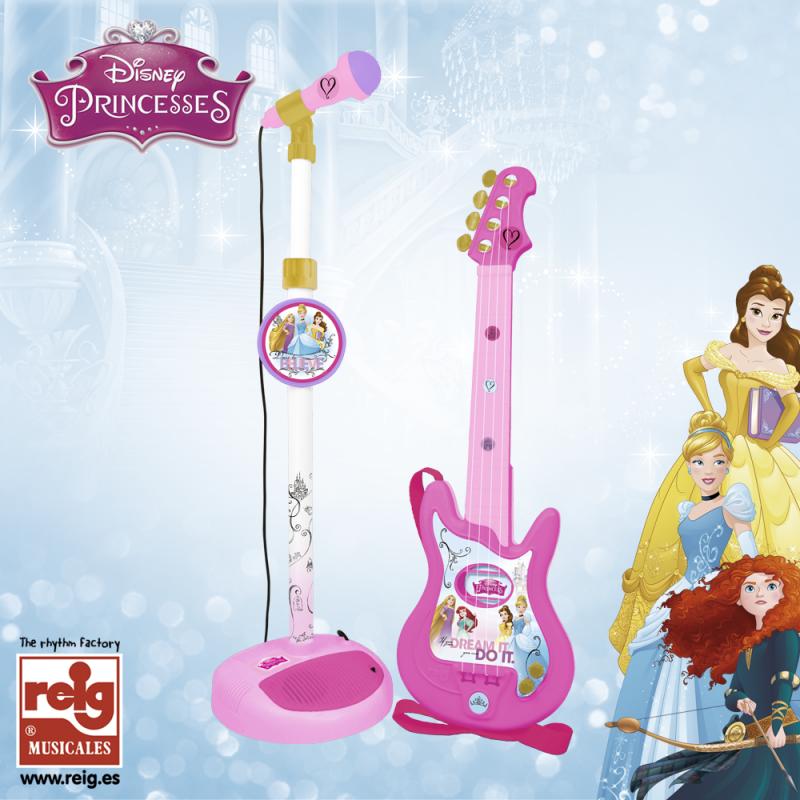 Set de chitară și microfon pentru copii, de culoare roz  3825