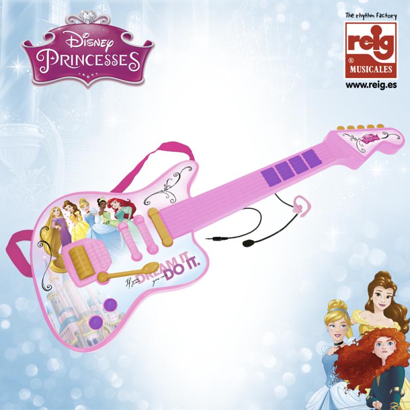 Chitară electronică roz pentru copii cu microfon  3835