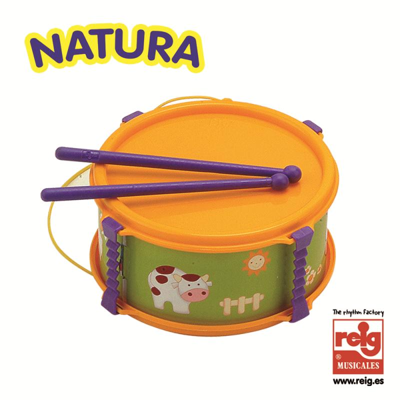 Tambur pentru copii, portocaliu cu imagini amuzante  3839