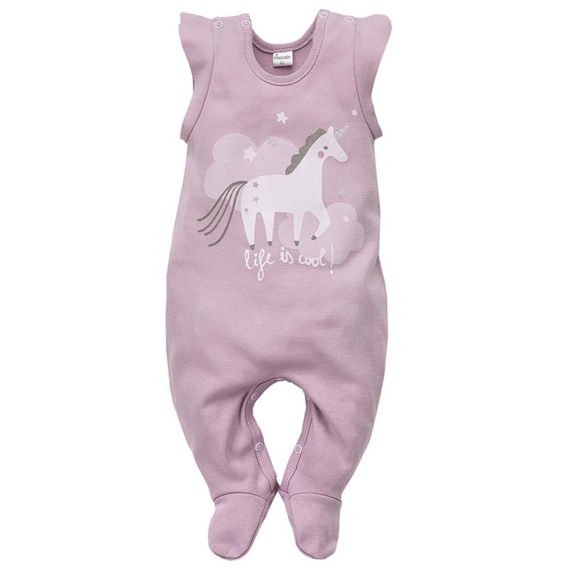 Salopetă de bumbac pentru fete cu imprimeu unicorn  3971