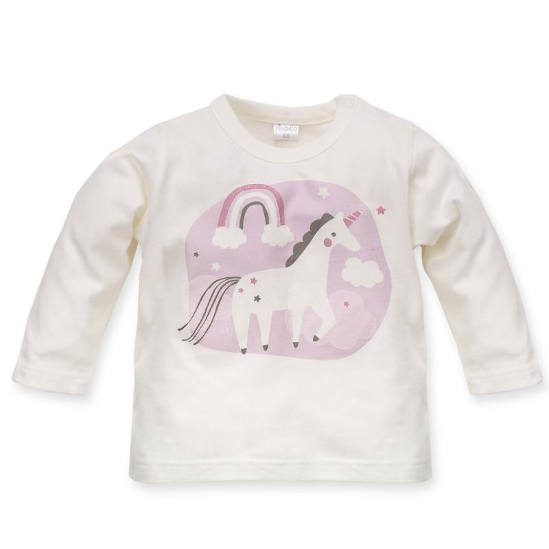 Bluză de bumbac cu unicorn și curcubeu aplicat pentru fetițe  3975