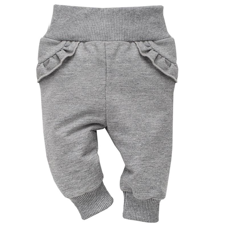 Pantaloni de bumbac gri cu bucle cusute pentru fetițe  3976