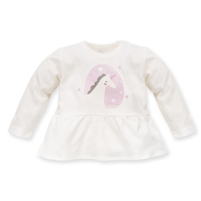 Tunică de bumbac cu mânecă lungă în ecru pentru copii  3981
