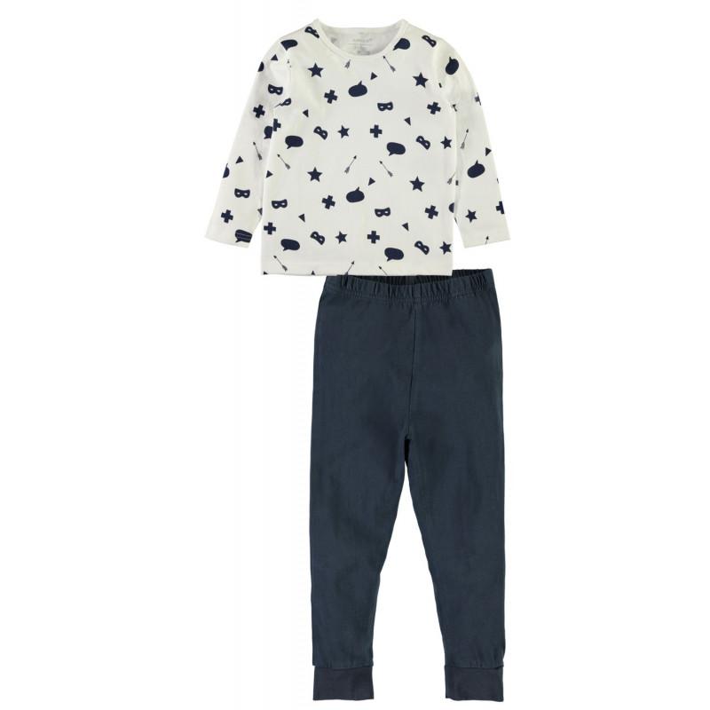 Set de 2 bucăți de pijamale de bumbac pentru un băiat fără etichetă proeminentă  4050