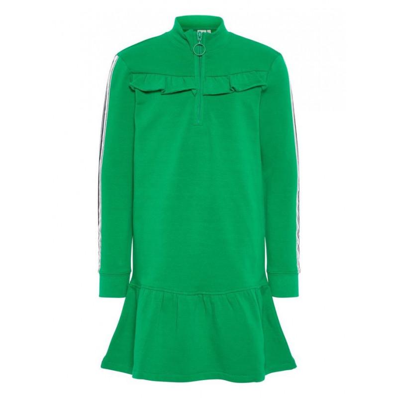 Rochie cu mâneci lungi și fermoar, verde  4092