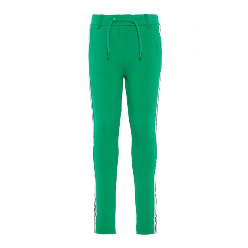 Pantaloni verzi pentru fete, cu banda verticală pe lateral  4098
