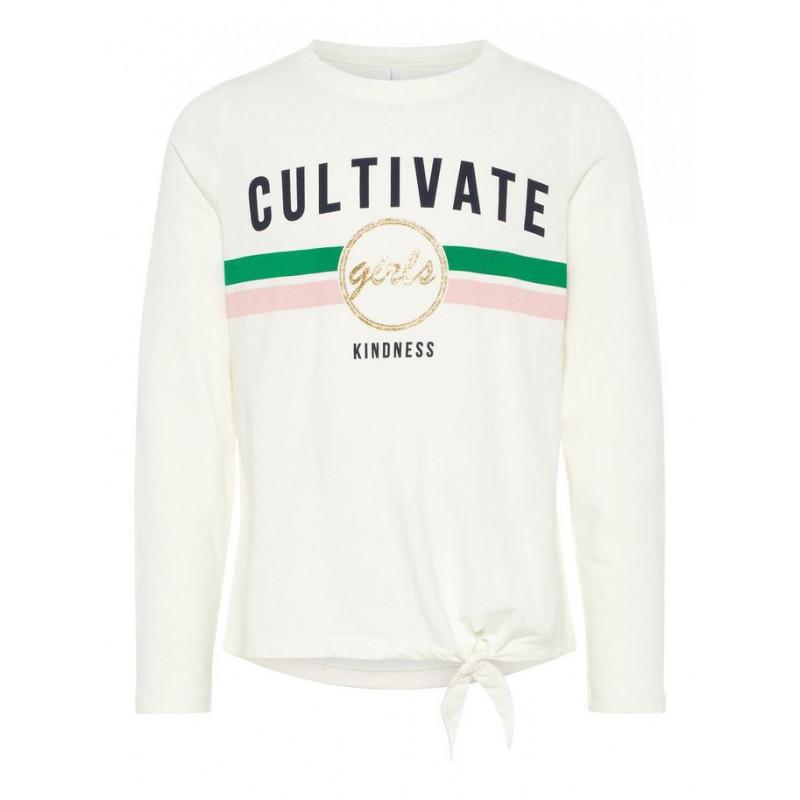 Bluză din bumbac cu mânecă lungă, CULTIVATE, pentru fete, alb  4110