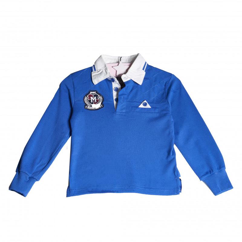 Bluză cu mânecă lungă pentru băieți, cu o emblemă cusută, albastră  4136