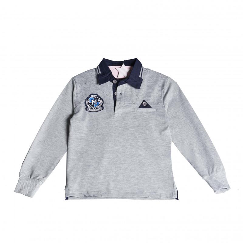 Bluză cu mânecă lungă pentru băieți, cu o emblemă cusută, de culoare gri  4140