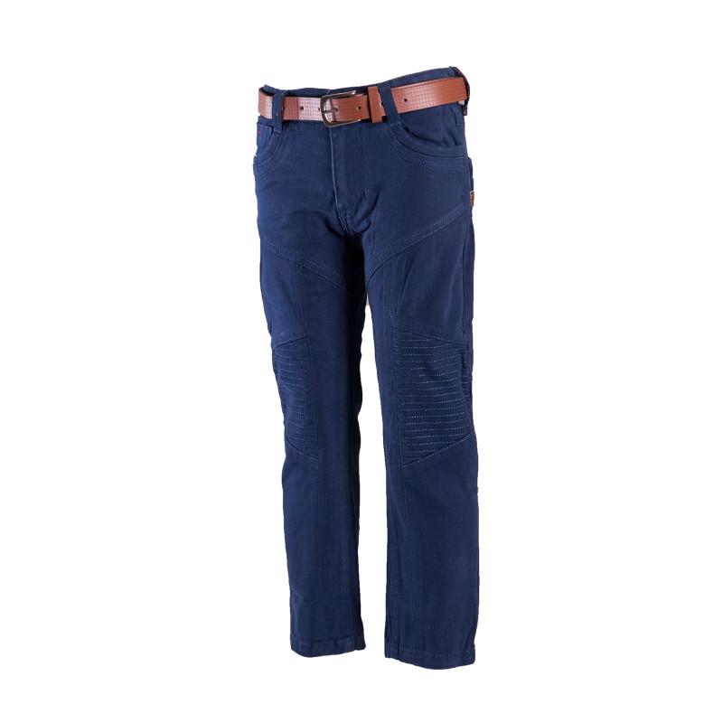 Pantaloni denim de culoare albastru profund, cu curea pentru băieți  4237