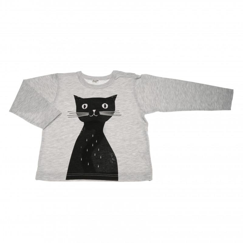 Bluză din bumbac cu mânecă lungă cu aplicație de pisoi negru pentru o fetiță  42577