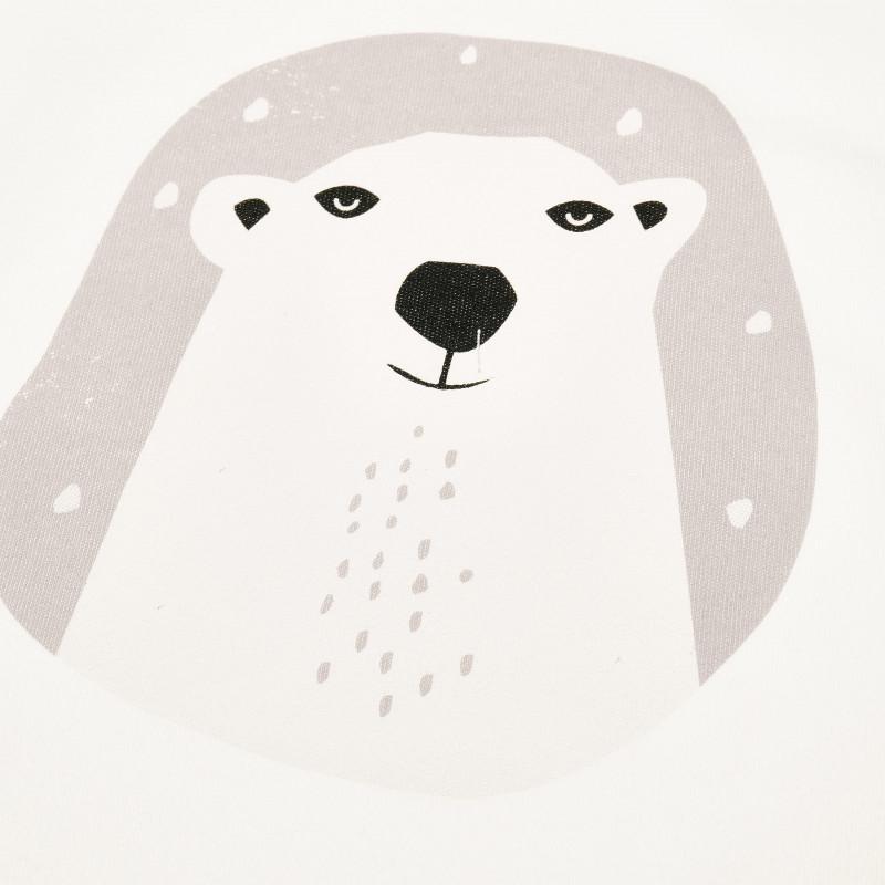 Body de bumbac cu mâneci lungi și urs polar pentru bebeluș - unisex  42608