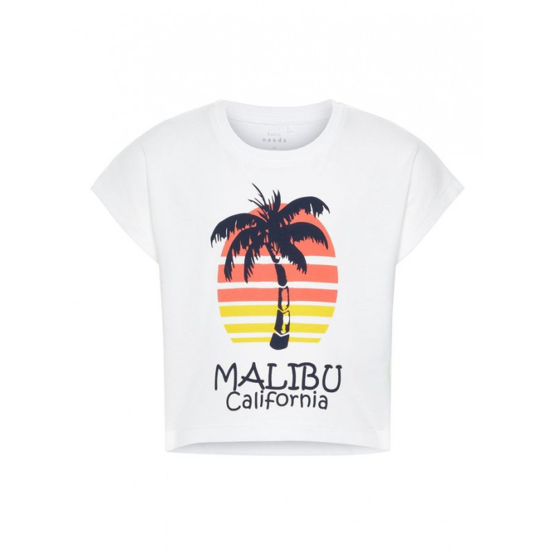 Tricou din bumbac cu inscripția MALIBU cu mâneci scurte pentru fete  42792