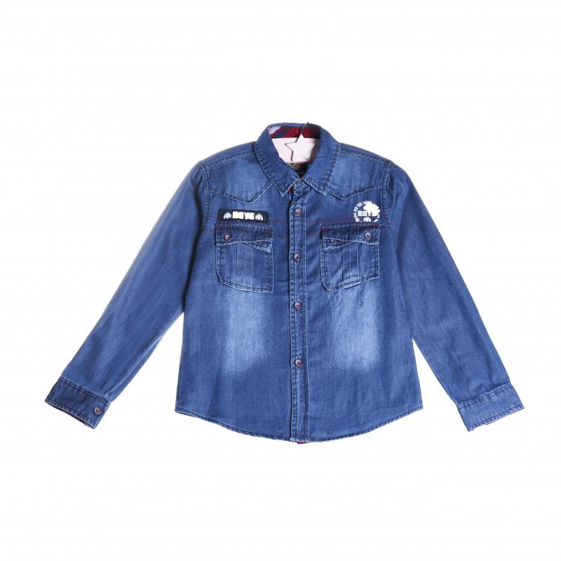 O cămașă din denim albastru închis pentru un băiat  4285
