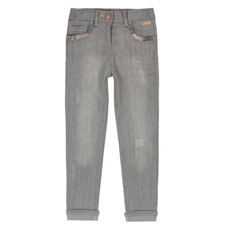 Pantaloni din denim pentru fete, cu cinci buzunare cu model  429