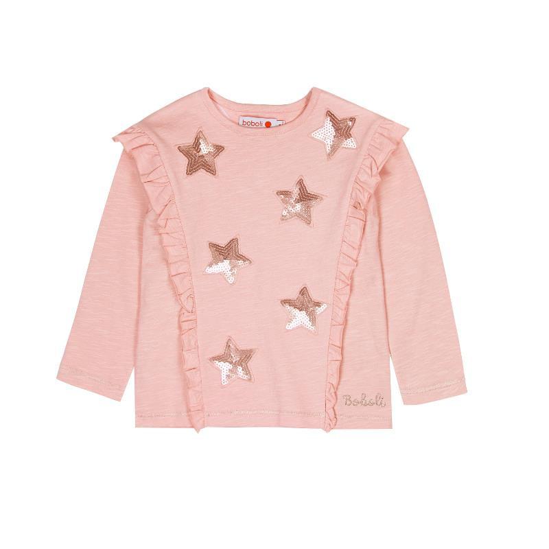 Bluză cu mânecă lungă și paiete strălucitoare, pentru fete, cu volane  441