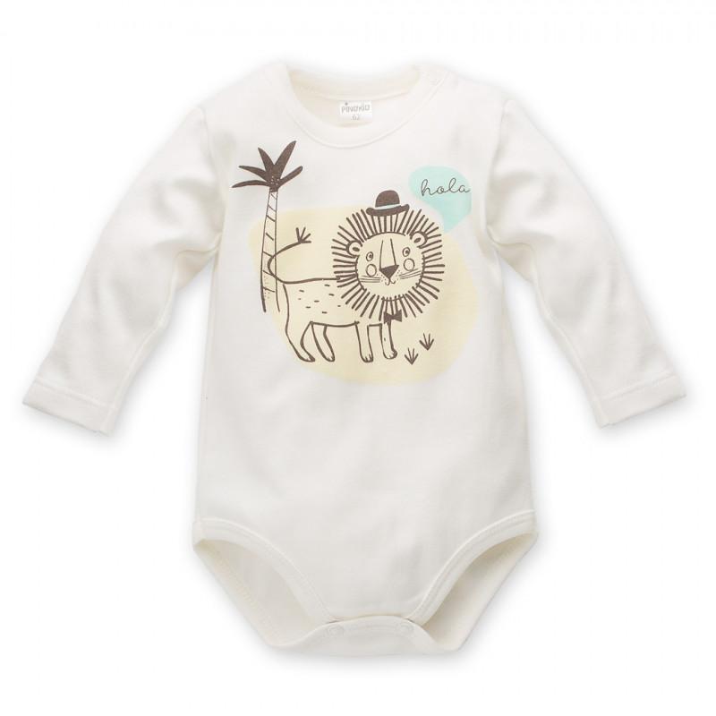 Body de bumbac cu mâneci lungi și imprimeu leu pentru bebeluși - unisex  44298
