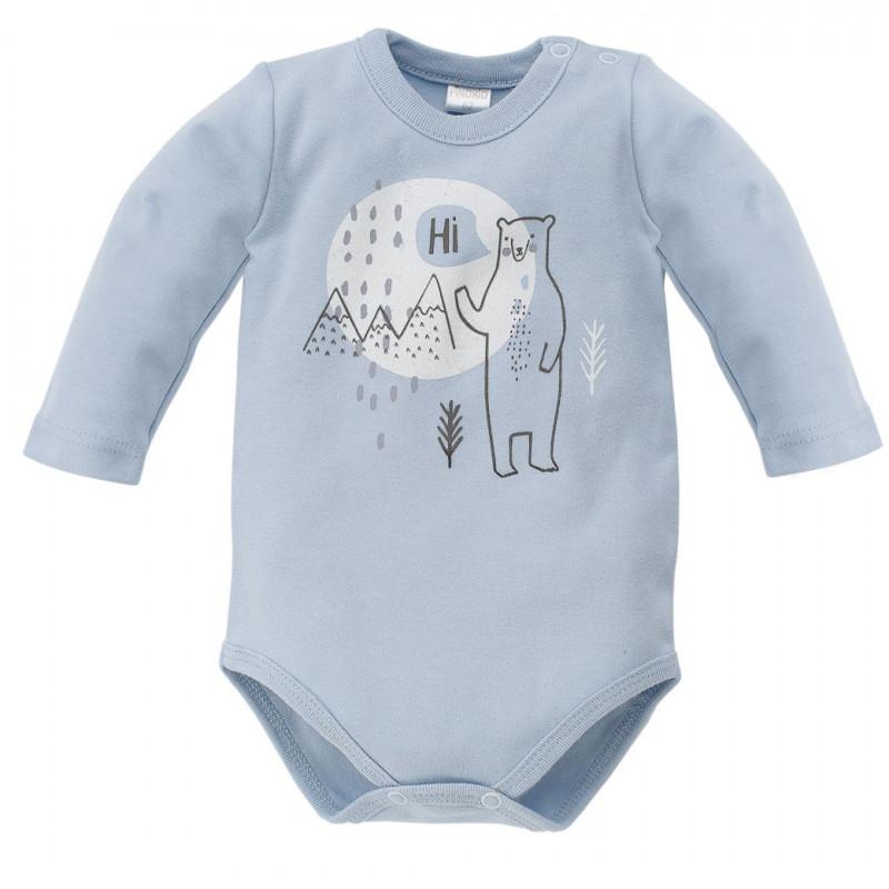 Body de bumbac cu mâneci lungi și un imprimeu vesel al unui urs polar pentru un bebeluș - unisex, albastru  44300