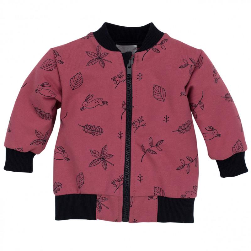 Hanorac din bumbac pentru fete, roz, cu imprimeu  44392