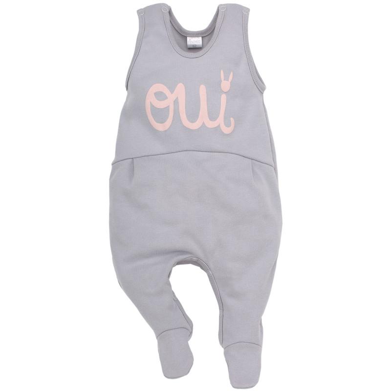 Salopetă de bumbac fără mâneci pentru bebeluși cu imprimeu gri în relief  44399