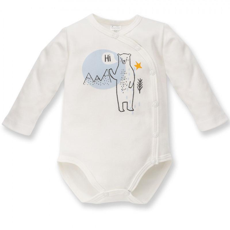 Body de bumbac cu mâneci lungi și imprimeu vesel al unui urs polar pentru bebeluș - unisex, alb  44428