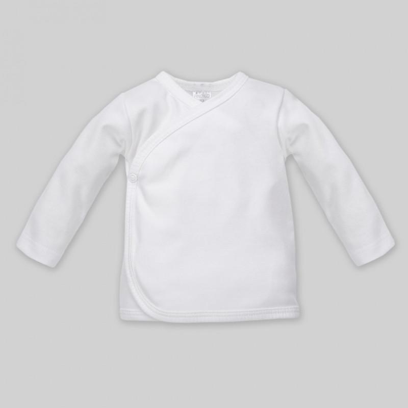 Bluză cu mânecă lungă din bumbac, alb, pentru bebeluș - unisex  44495